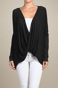Twist Drape Shirt/Blouse Top Wrap Oversize Batwing Long Sleeve