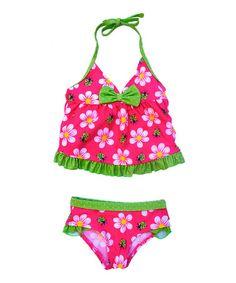 Look at this #zulilyfind! Fuchsia & Green Flower Tankini - Infant & Toddler by Pink Platinum #zulilyfinds