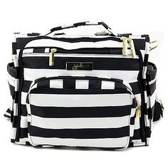 From Ju-Ju-Be comes the B.F.F. Diaper Bag in The First Lady, a stylish black-and-white striped bag that features enough zippers and pouches to store everything you need for your little darling. It is a messenger bag that can be converted to a backpack.