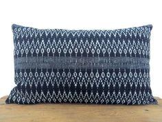 Hand Dyed Hmong Hill Tribe Indigo Batik Pillow Cover, Handspun Geometrical Motif Boho Cotton Pillow