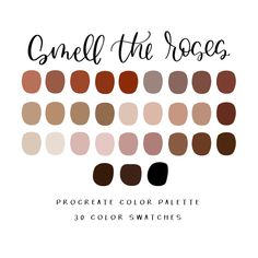 Smell the roses Procreate Palette / Procreate / Instant Colour Pallette, Colour Schemes, Color Combos, Vintage Colour Palette, Beachy Colors, Digital Art Tutorial, Ipad Art, Color Swatches, Pantone Color