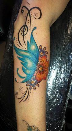 feminine, girly, butterfly tattoo, flowers, flowers and swirls, sleeve work