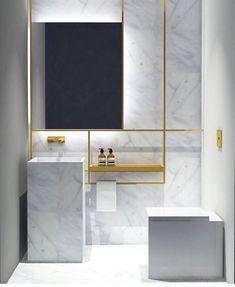 decoralinks | soporte minimalista metalico dorado con espejo - bathroom
