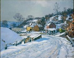 """""""Road To Lambertville,"""" Edward Willis Redfield, ca. 1930, oil on canvas, 32 x 40"""", The Columbus Museum."""
