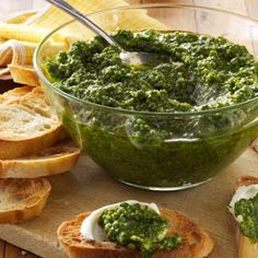 Spinach-Basil Pesto Recipe -Toss this garlicky, rich pesto with pasta or use as a spread. It also freezes well for fresh flavor over the winter. —Jaye Beeler, Grand Rapids, Michigan Vegetarian Recipes, Cooking Recipes, Healthy Recipes, Pasta Recipes, Vegetarian Cooking, Veggie Recipes, Healthy Foods, Dinner Recipes, Fresh Basil Recipes