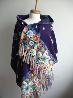 Handcrocheted Purple Amethyst  Shawl , Crocheted Flowers on Polar Fleece Cloth, Special  OOAK Design