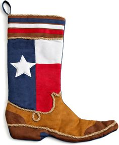 Holiday Lane, Texas Boot Christmas Stocking, purchased 2 at Macy's, real rope with a soft spade feel to the boot. Western Christmas, Country Christmas, Christmas Holidays, Christmas Ideas, Christmas Stuff, Holiday Ideas, Christmas Stocking Pattern, Christmas Sewing, Christmas Decorations Sale