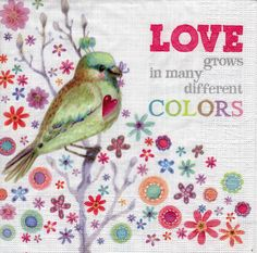 Decoupage Paper Napkins Love Grows in Many Colours Birds Floral (1x Napkin) - ideal for Decoupage, Collage, Mixed Media, Crafts