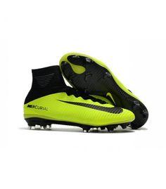 newest d7e3c a9f2b Nike Mercurial Superfly V FG Black-Green Mens Soccer Shoes Wholesale