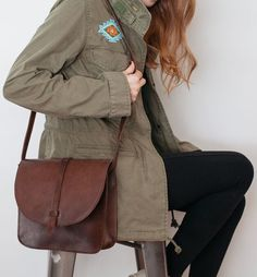 The Tirhas Saddlebag in a rich chocolate brown leather, hand-crafted in Ethiopia