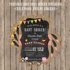 Printable Farm Baby Shower Invitation