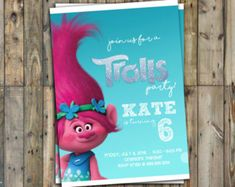 Invitation invitation anniversaire les Trolls les par MariiaDesign