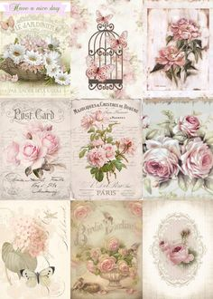 ~ Shabby Chic Vintage French Roses 9 Small Prints on Fabric Quilting FB 324 ~ Decoupage Vintage, Vintage Paper, Vintage Images, French Vintage, French Chic, Fabric Crafts, Paper Crafts, Decoupage Printables, Vintage Labels