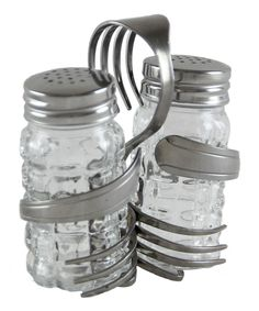 Double Loop Salt & Pepper Shakers With Caddy