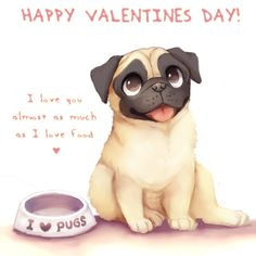 Pug Valentine by dexikon