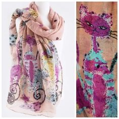 """B51 Art Deco Cat Scarf Peach Coral Pink Black Cat Art Scarf   ‼️️PRICE FIRM UNLESS BUNDLED‼️ Retail $129  Fabulous scarf!!!  Art deco cat prints.   Dress up the most basic outfit year round.  100% polyester.  72"""" long, 38"""" wide.  A beautiful and luxurious scarf.  Also available in other colors.  Please check my closet for many more items!!! Boutique Accessories Scarves & Wraps"""