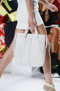 Flat tote bag Bright white - #Lacoste Spring-Summer 2013 Fashion Show. #LacosteSS13 #NYFW  © Yannis Vlamos