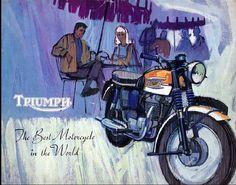 Very Sixties Triumph Graphic Best Motorbike, Bsa Motorcycle, Motorcycle Posters, Triumph Bobber, Triumph Motorcycles, Triumph Bonneville, Triumph T120, Vintage Bikes, Vintage Motorcycles