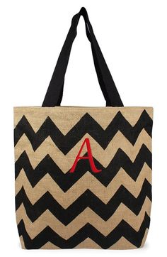CATHY'S CONCEPTS Personalized Chevron Print Jute Tote available at #Nordstrom