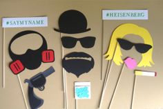 HEISENBERG WALTER WHITE PhotoBooth Props Photo Booth Props Drug Dealer Gangster Blue Meth The Cook Gas Mask Sklyer and Walter White