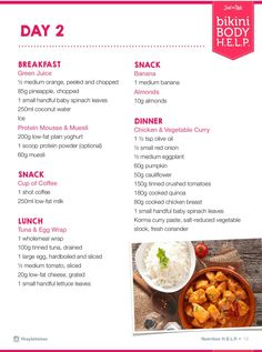 BBG food plan day 2 - Healthy Food Delivery - Ideas of Healthy Food Delivery - BBG food plan day 2 Kayla Itsines Nutrition Guide, Kayla Itsines Meal Plan, Bbg Diet, Chicken Vegetable Curry, Workout Meal Plan, Workout Schedule, Most Effective Diet, Healthy Food Delivery, Breakfast Snacks