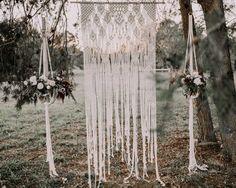 Macrame Wedding Backdrop & 2- Lg Plant Hangers - MossHound Designs