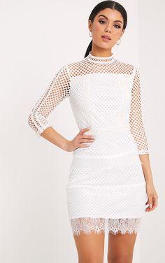 Jamey White High Neck Leather Trim Fishnet Bodycon Dress