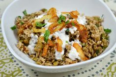 Mujaddara Rice and Lentils with Crispy Onions - Chew Nibble Nosh