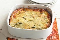 Summer Zucchini Bake Recipe - Looks delicious except for the Miracle Whip part! (real Best Foods mayo please) Baked Yellow Squash, Baked Summer Squash, Yellow Squash Recipes, Yellow Squash And Zucchini, Baked Squash, Kraft Recipes, Veggie Recipes, Baking Recipes, Veggie Bake