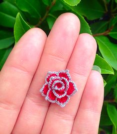 Micro Miniature Crochet Rose made from my pattern. Would be cute to make into a necklace ring or earrings