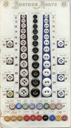 """Photos of pages from a ten-page sample case showing the German brand """"R & C"""" are shown in Guidelines. Sample cards give us information as to the origin and relative time of producti… Button Cards, Button Button, Dorset Buttons, Buttons For Sale, Stencils, Old Tools, Sewing Notions, Haberdashery, Textiles"""