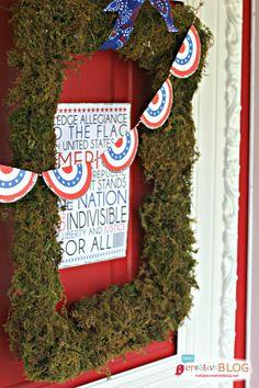 Pledge of Allegiance  |  DIY Moss Frame - DIY Patriotic Door Decorations | TodaysCreativeblog.net