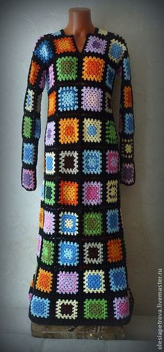 Good shape for granny square long dress -  Купить Платье Бабушкин квадрат - платье, Бабушкин квадрат, платье летнее, платье теплое