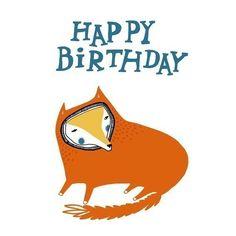 1 Birthday Fox Card