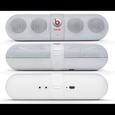 """white beats pill I totally love this speaker, unfortunately I am never around to use it as much as it is worth. works amazingly!!! will be sad to let it go but I rather it go to a home where it is used. the only injury is very minor, some of the written """"beats"""" part pealed off. the speaker works good as new. comes with charger and case. beats Other"""