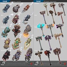 video game weapons | Weapon concepts – Darksiders 2 | Video Game Art