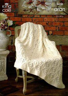 King Cole Pattern 3458 Aran Afghan Blanket   sewandso