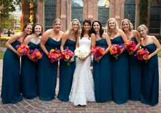 Teal Bridesmaids Dresses ~  Photo: Jeff Loftin Photography #wedding #bridesmaids