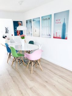 Our Scandinavian style kitchen, featuring pale wood floors, white walls and pops of pastel colour from the Eiffel chairs and wall canvases. White Floorboards, Eiffel Chair, Color Pop, Colour, Updated Kitchen, Wall Canvas, Kitchen Styling, Scandinavian Style, Canvases