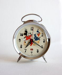 Vintage table clock Animated mickey mouse clock by VintageCorner42