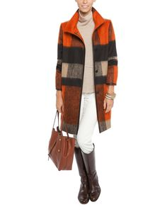 Les Copains Coat, Rani Arabella Sweater, Fabrizio Gianni pants and Anabel Ingall Tote. All at www.halsbrook.com