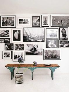 Wall gallery and vintage bench for a studio. Inspiration Wall, Interior Inspiration, Creative Inspiration, Foto Poster, Interior Decorating, Interior Design, Hanging Art, Frames On Wall, Wall Collage