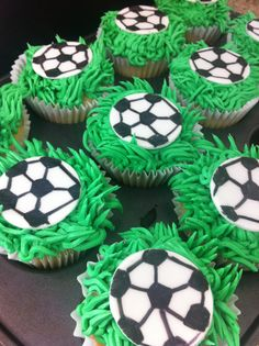 For my grandson.. soccer cupcakes