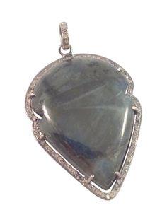 Labradorite and Diamond Arrowhead Pendant — S. Carter Designs