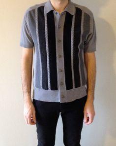 1950s Tri-Tone Rockabilly Mod Wool Mens Short Sleeve Button up Shirt Black  Grey M size 1ec7ccce6