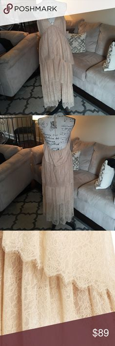 BCBGMAXAZRIA Parfait Kat Dress Size XS Brand new with tags.  Nude lace tiered dress has an adjustable halter tie around the neck. BCBGMaxAzria Dresses Maxi