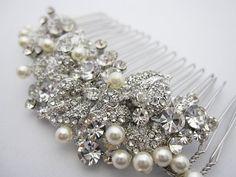 Pearl bridal comb,bridal hair comb crystal and pearl,wedding hair accessories,crystal hair comb,wedding comb,wedding hair comb pearl,crystal on Etsy, $59.00