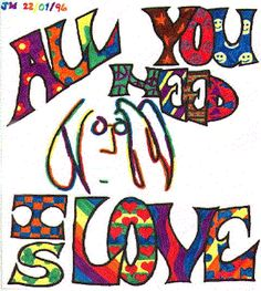 """All you need is love"" as sung by the Beatles. Foto Beatles, Beatles Art, The Beatles, Hippie Couple, Happy Birthday John, Hippie Art, Hippie Chick, Hippie Life, Purpose Driven Life"