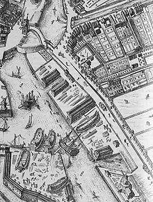 Oostpoort Rotterdam. Vogelvluchtkaart door Johannes de Vou uit 1694, detail.
