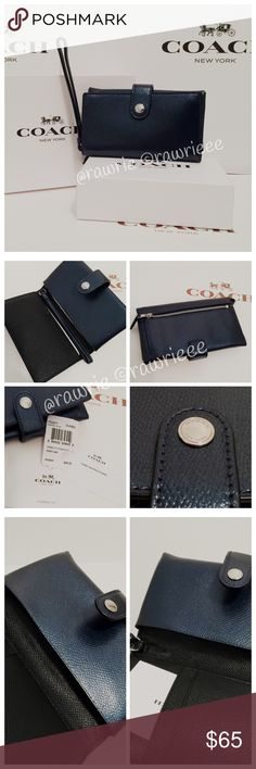 """New Coach metallic leather phone wallet & gift box 100% authentic. Crossgrain metallic midnight leather. Silver tone hardware. Snap closure and fabric lining. Inside multifunction pocket and 5 credit card slots. Back zip pocket. Wrist strap attached. Measures 6"""" x 3.5"""". Coach gift box included. Coach Bags Wallets"""